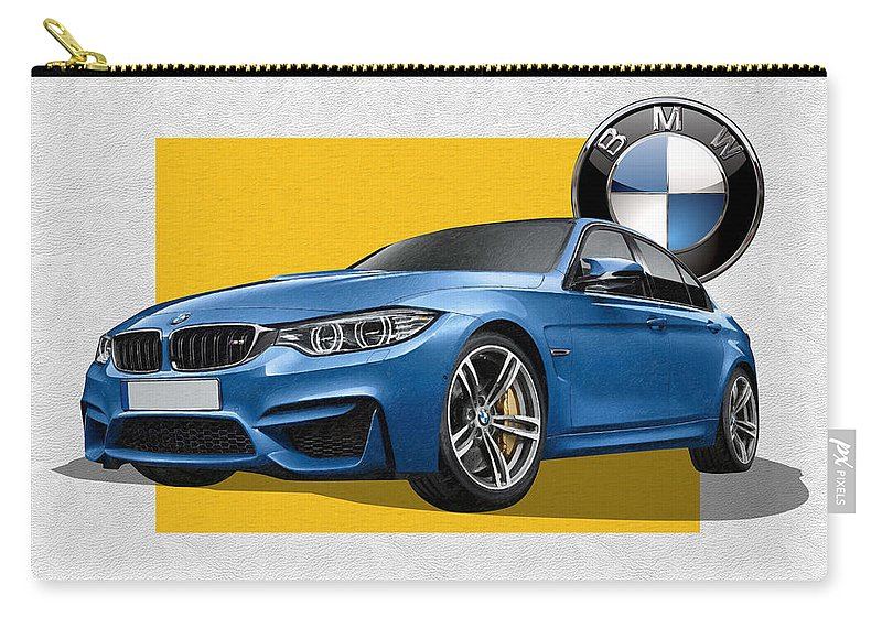 �bmw� Collection By Serge Averbukh Carry-all Pouch featuring the photograph 2016 B M W M 3 Sedan with 3 D Badge by Serge Averbukh