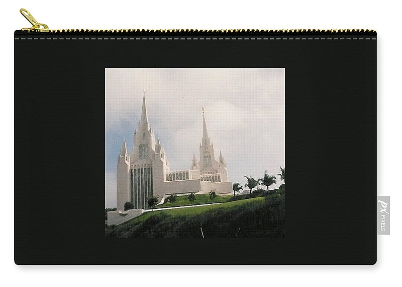 Vacation To San Diego Temple Seating In Back Seat Took Picture Out The Back Window While Going Down The Highway. Landscape Carry-all Pouch featuring the photograph #4 San Diego Temple by Paul - Phyllis Stuart