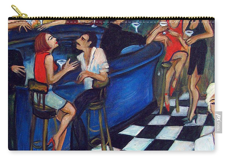 Chicago Style Bar Carry-all Pouch featuring the painting 32 East by Valerie Vescovi