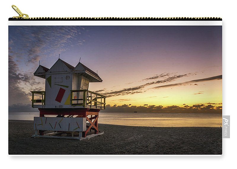 Florida Carry-all Pouch featuring the photograph 7901- Miami Beach Sunrise by David Lange