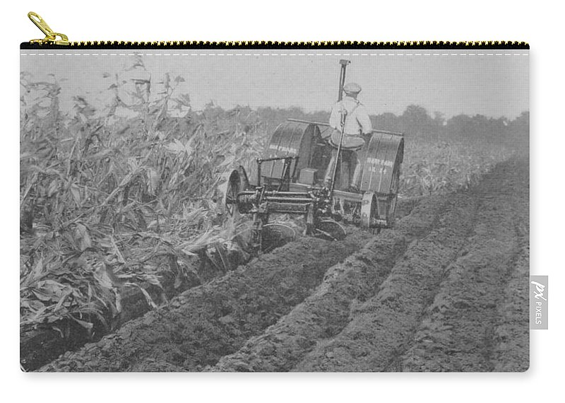 Farm Carry-all Pouch featuring the photograph A Farmer Driving A Tractor by American School