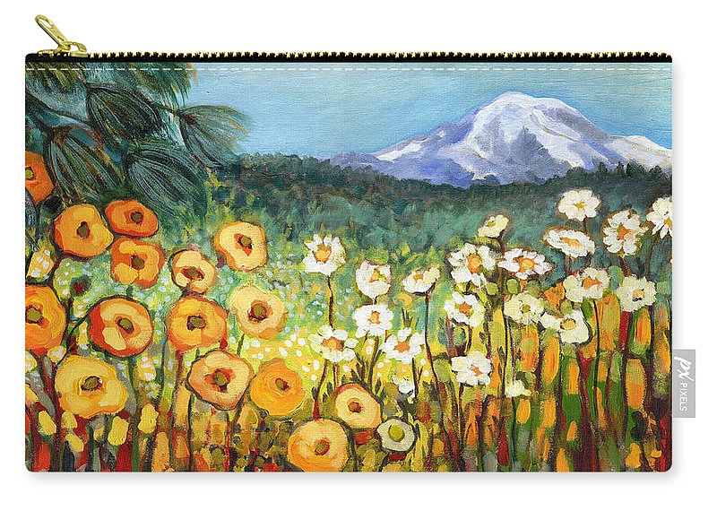 Rainier Carry-all Pouch featuring the painting A Mountain View by Jennifer Lommers