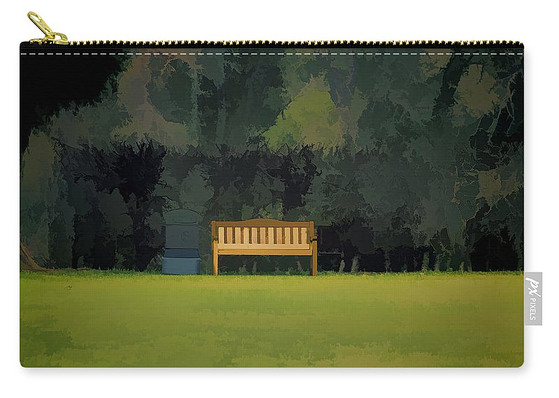 Bench Carry-all Pouch featuring the photograph A Trash Can And Wooden Benches In A Small Grassy Area by Ashish Agarwal