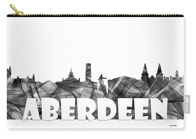 Aberdeen Scotland Skyline Carry-all Pouch featuring the digital art Aberdeen Scotland Skyline by Marlene Watson