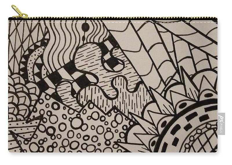 Abstract Carry-all Pouch featuring the drawing Aceo Zentangle Abstract Design by Jill Christensen