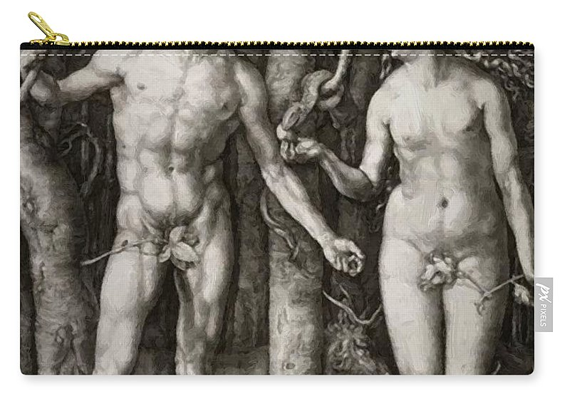 Adam Carry-all Pouch featuring the painting Adam And Eve 1504 by Durer Albrecht