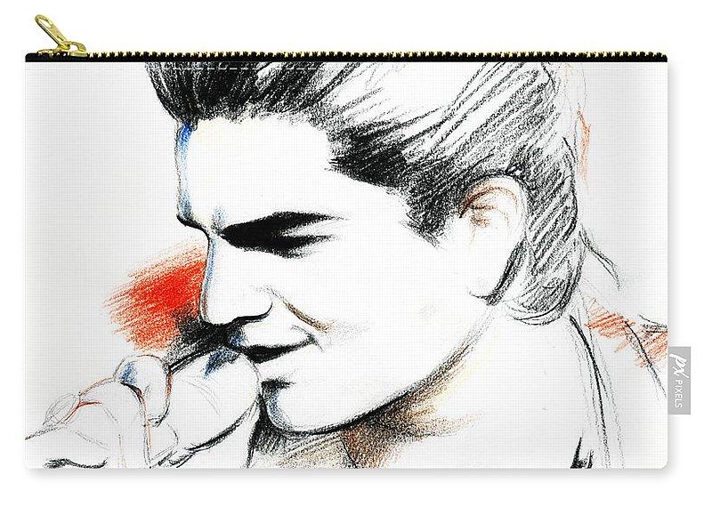 Adam Lambert Carry-all Pouch featuring the drawing Adam Lambert by Lin Petershagen