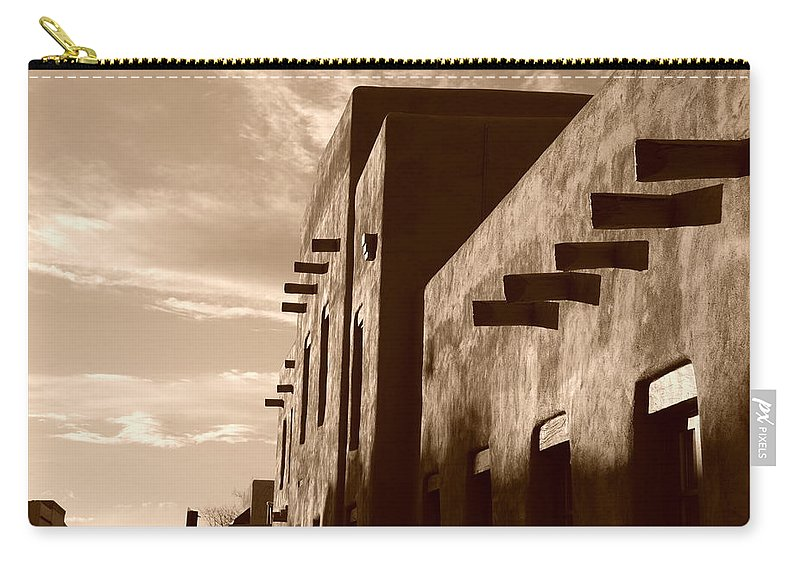 Architecture Carry-all Pouch featuring the photograph Adobe Sunset by Rob Hans