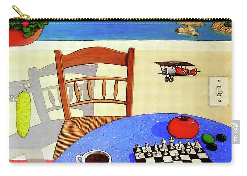 Chair Carry-all Pouch featuring the painting Afternoon Distractions by Snake Jagger