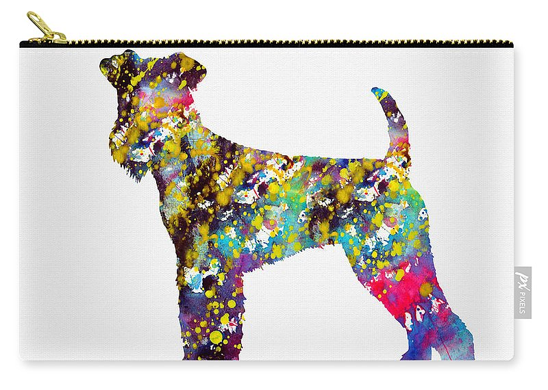 Airedale Terrier Carry-all Pouch featuring the digital art Airedale Terrier by Erzebet S