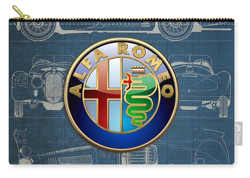 �wheels Of Fortune� By Serge Averbukh Carry-all Pouch featuring the photograph Alfa Romeo 3 D Badge Over 1938 Alfa Romeo 8 C 2900 B Vintage Blueprint by Serge Averbukh