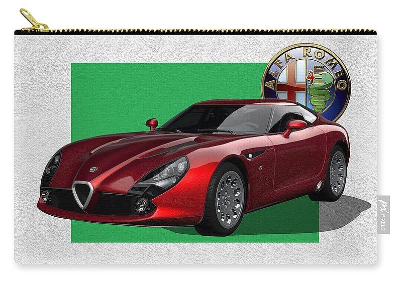 �alfa Romeo� By Serge Averbukh Carry-all Pouch featuring the photograph Alfa Romeo Zagato T Z 3 Stradale With 3 D Badge by Serge Averbukh