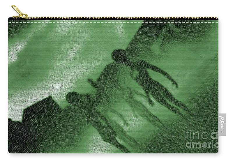Ufo Carry-all Pouch featuring the drawing Aliens In Green Fog by Esoterica Art Agency
