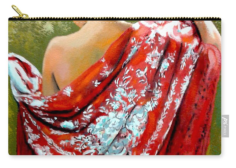 Red Carry-all Pouch featuring the painting aly by Jose Manuel Abraham