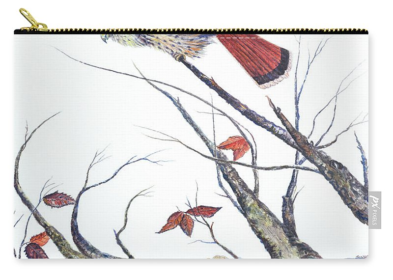 Bird Carry-all Pouch featuring the painting American Kestrel by Ben Kiger