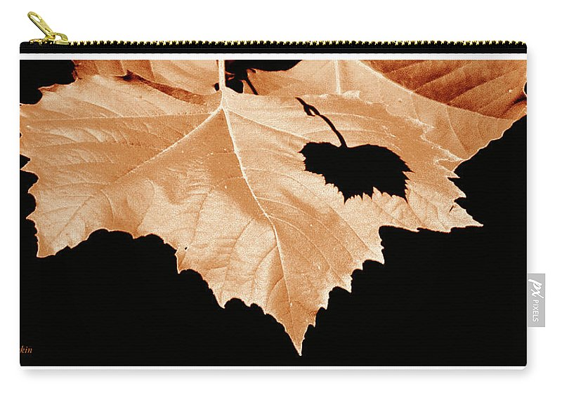 Shade Carry-all Pouch featuring the photograph American Sycamore Leaf And Leaf Shadow by A Gurmankin