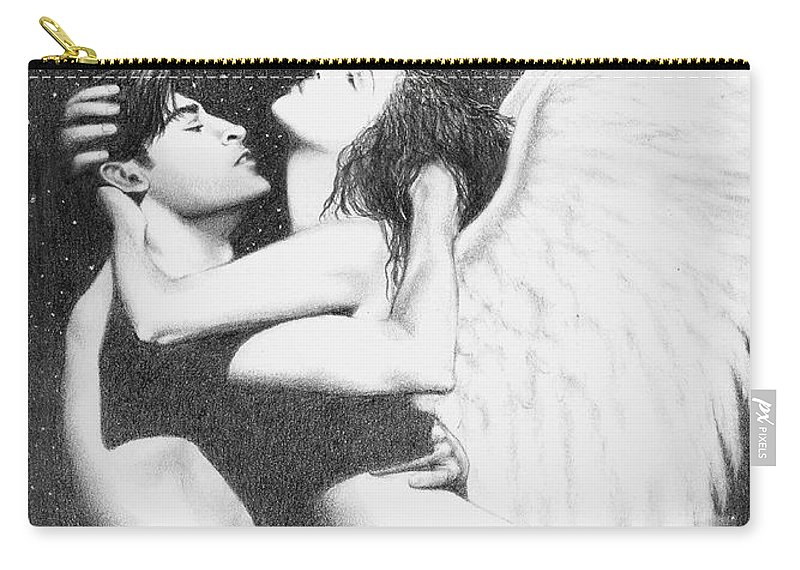 Angel Art Brucelennon Carry-all Pouch featuring the drawing Angel Embrace by Bruce Lennon