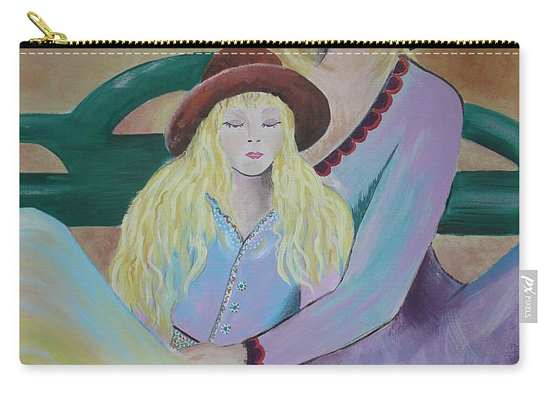 Mother/daughter Carry-all Pouch featuring the painting Angel Face by Kris Crollard