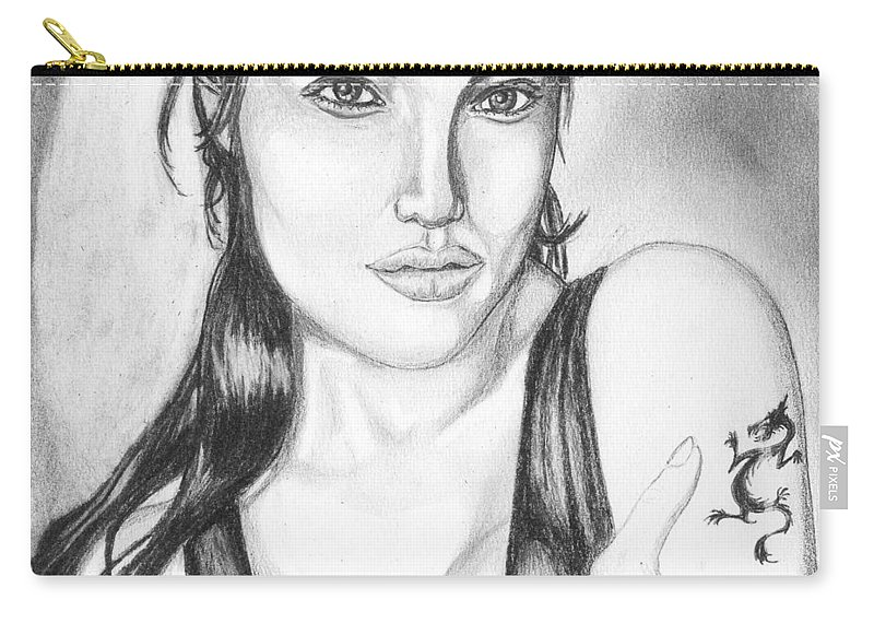 Portrait Carry-all Pouch featuring the drawing Angelina Jolie Portrait by Alban Dizdari
