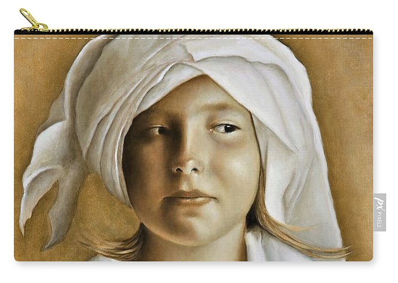 Portrait Carry-all Pouch featuring the painting Angelinn by Nanne Nyander