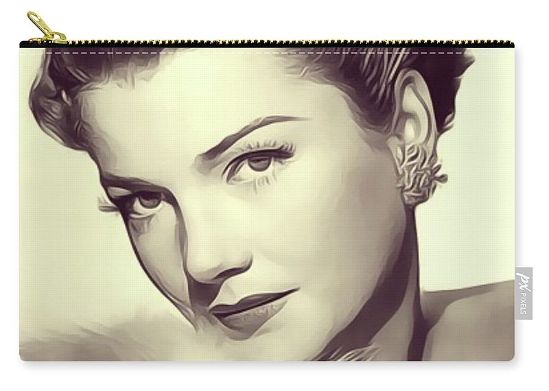 Anne Carry-all Pouch featuring the digital art Anne Baxter, Vintage Actress by John Springfield