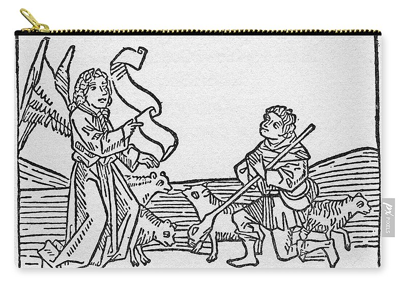 15th Century Carry-all Pouch featuring the drawing Annunciation To Shepherds by Granger
