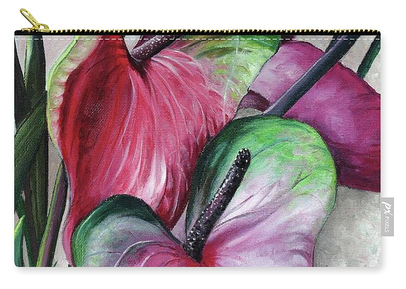 Pink Lilies Carry-all Pouch featuring the painting Anthuriums by Karin Dawn Kelshall- Best