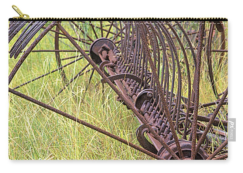 Old Farm Equipment Carry-all Pouch featuring the photograph Antique Hay Rake by Jim Smith