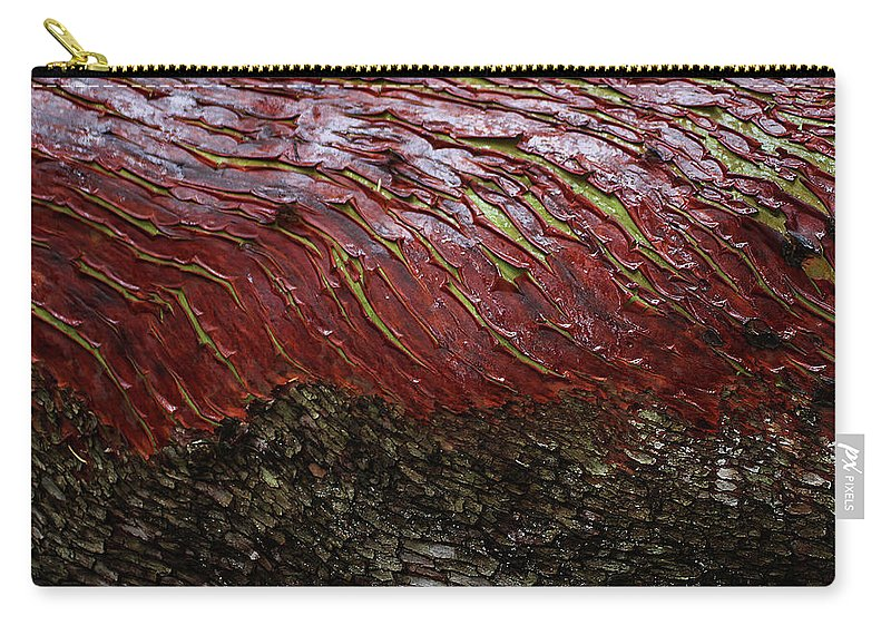 Arbutus Tree Bark Carry-all Pouch featuring the digital art Arbutus Tree Bark by Tom Janca