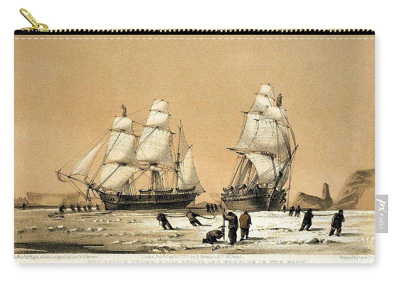 1850 Carry-all Pouch featuring the drawing Arctic Ocean by Granger