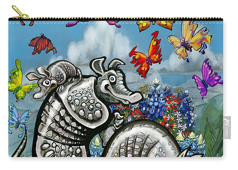 Armadillos Carry-all Pouch featuring the digital art Armadillos Bluebonnets And Butterflies by Kevin Middleton