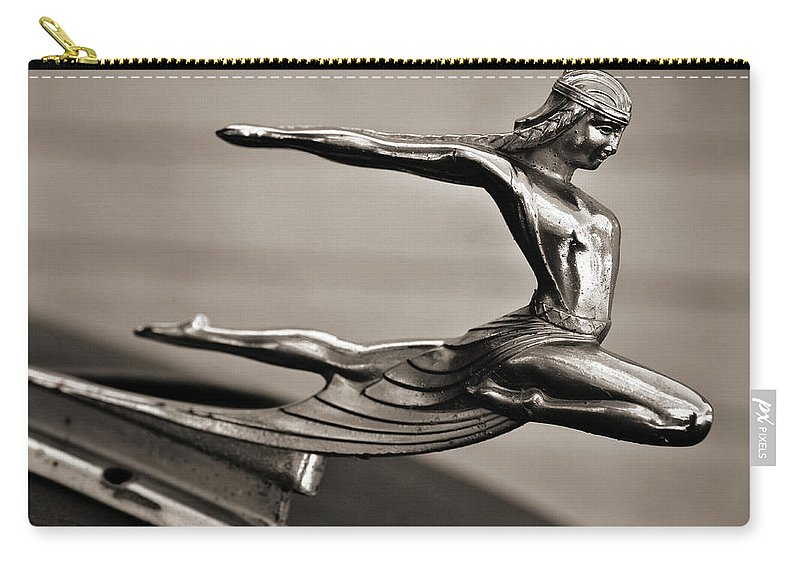 Americana Carry-all Pouch featuring the photograph Art Deco Hood Ornament by Marilyn Hunt