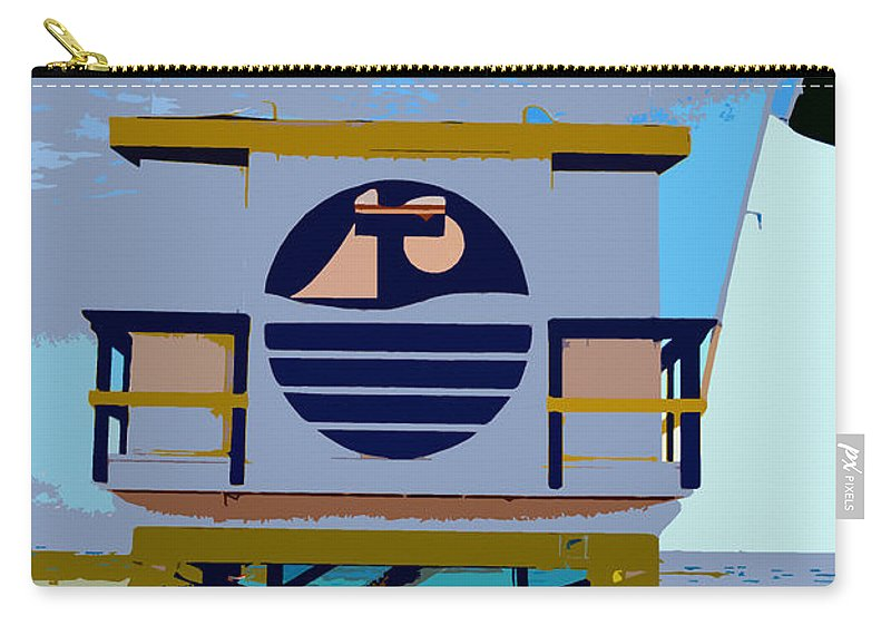 Miami Beach Florida Carry-all Pouch featuring the photograph Art Deco Lifeguard Stand by David Lee Thompson