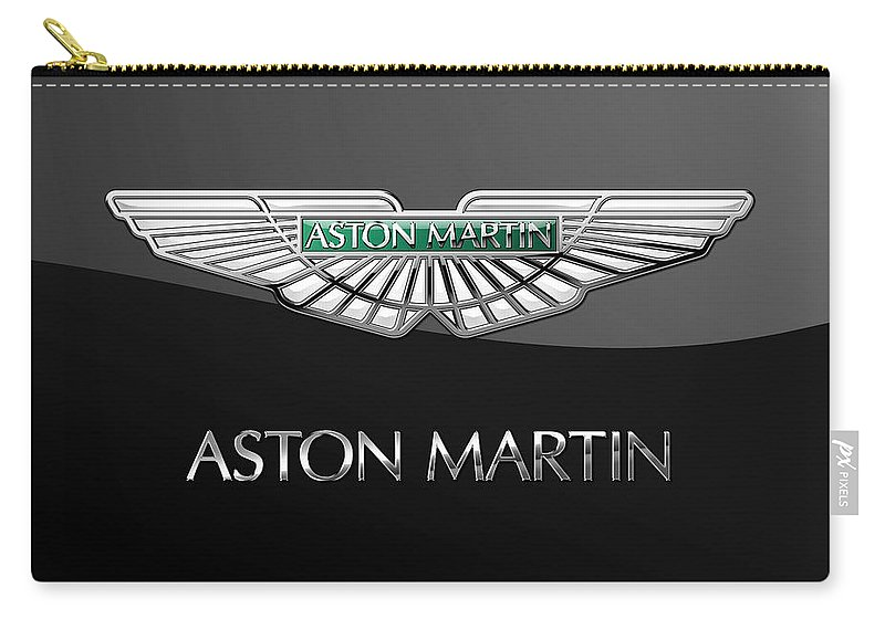 'wheels Of Fortune� Collection By Serge Averbukh Carry-all Pouch featuring the photograph Aston Martin 3 D Badge on Black by Serge Averbukh