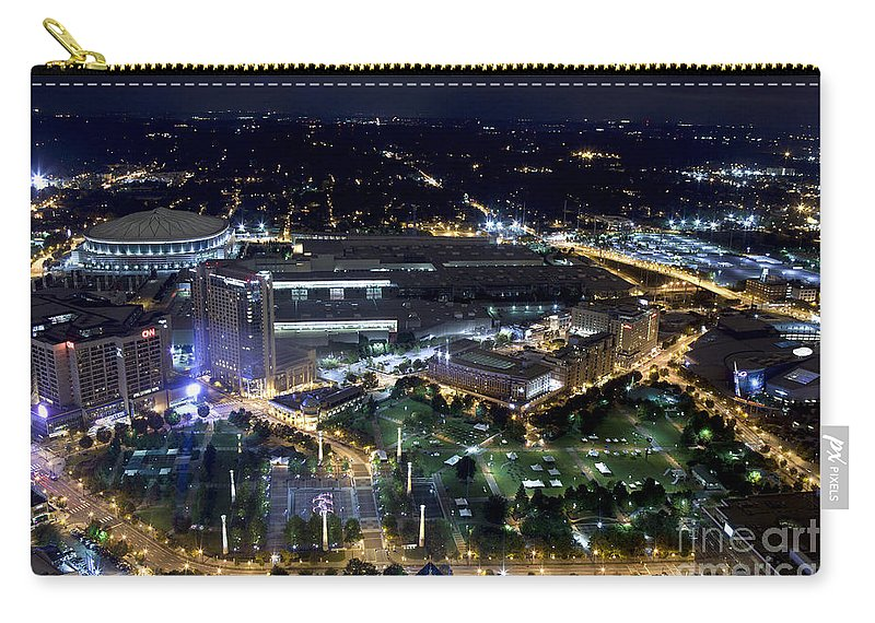 Aerial View Carry-all Pouch featuring the photograph Atlanta Georgia Nightlife by Anthony Totah
