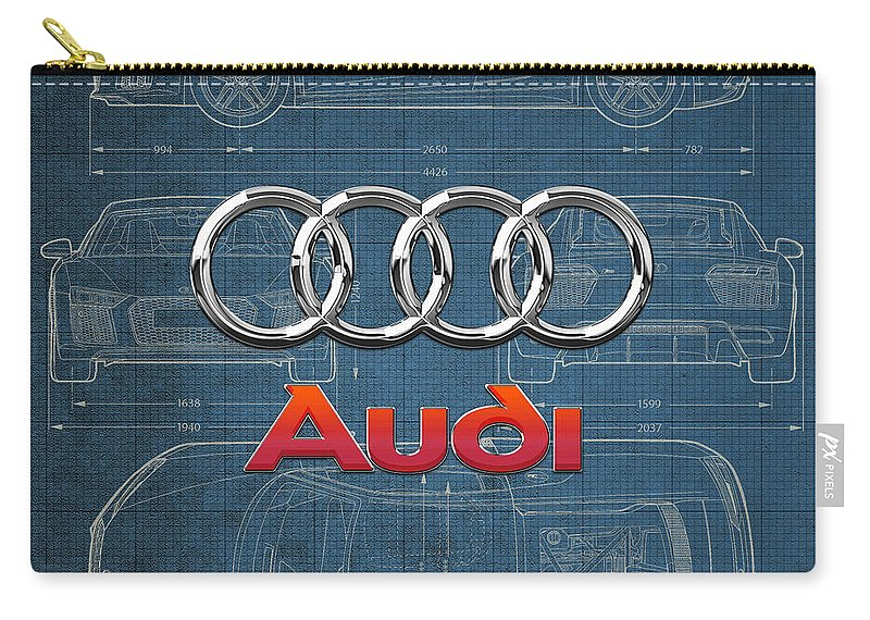 �wheels Of Fortune� Collection By Serge Averbukh Carry-all Pouch featuring the photograph Audi 3 D Badge over 2016 Audi R 8 Blueprint by Serge Averbukh