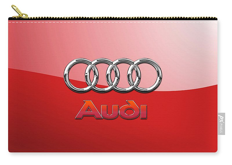 Wheels Of Fortune By Serge Averbukh Carry-all Pouch featuring the photograph Audi - 3D Badge on Red by Serge Averbukh