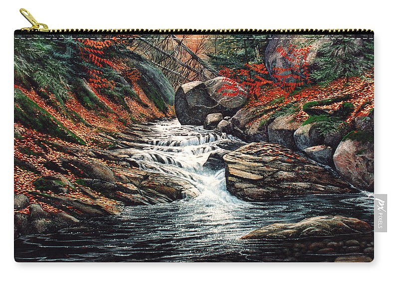 Landscape Carry-all Pouch featuring the painting Autumn Brook by Frank Wilson