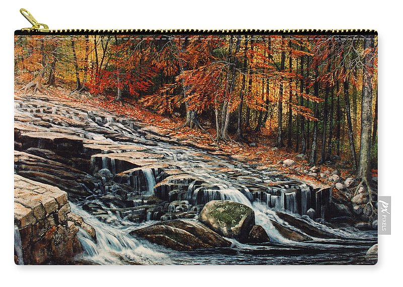 Landscape Carry-all Pouch featuring the painting Autumn Cascade by Frank Wilson