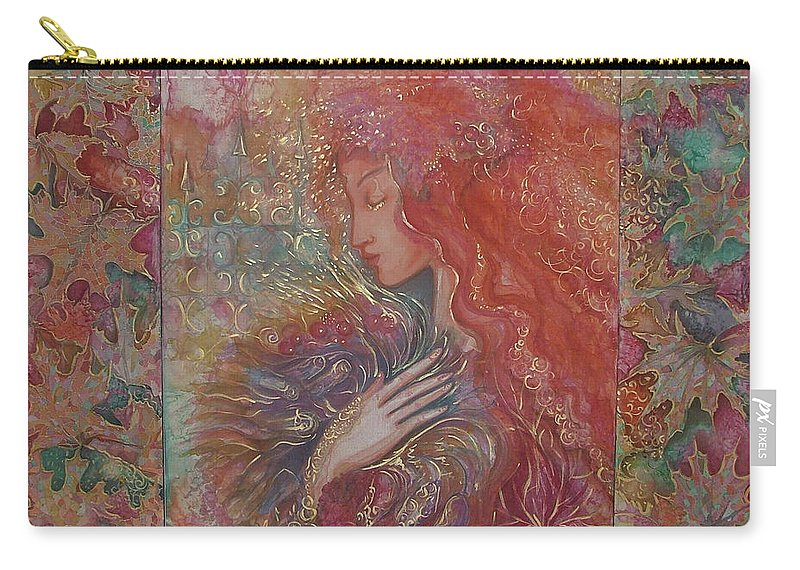 Silk Carry-all Pouch featuring the painting Autumn by Rita Fetisov