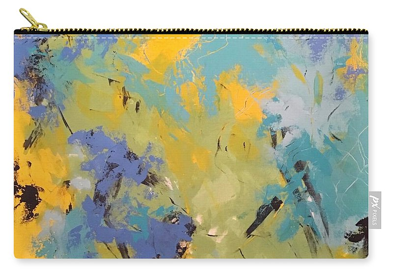 Awaken The Soul Is An Original 36 X 36 Acrylic Abstract Painted On A Gallery Canvas. The Edges Are Painted To Coordinate With The Outer Edges Of The Painting Carry-all Pouch featuring the painting Awaken The Soul by Suzzanna Frank