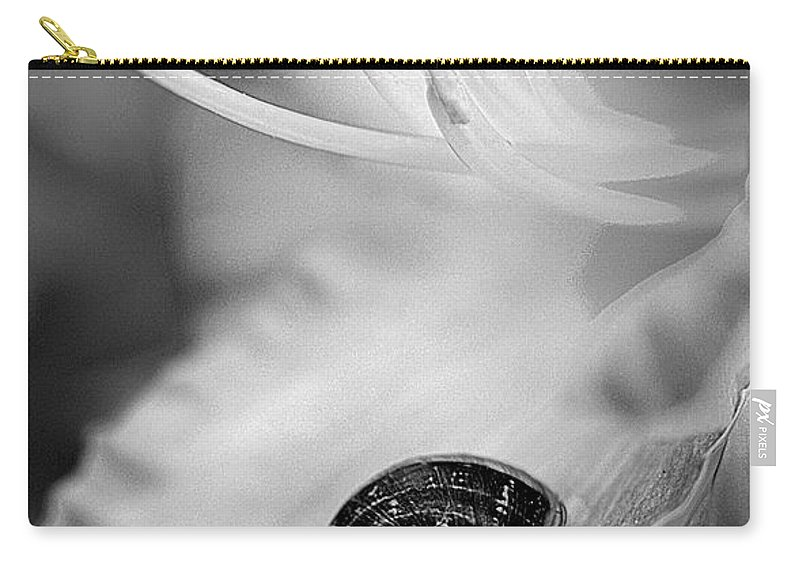 Clay Carry-all Pouch featuring the photograph B And White Floral With Snail by Clayton Bruster