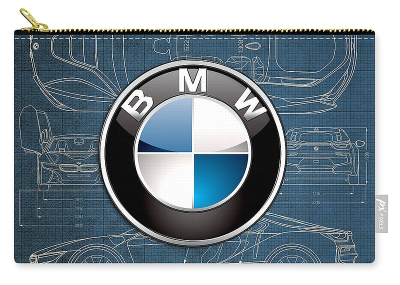 �wheels Of Fortune� By Serge Averbukh Carry-all Pouch featuring the photograph B M W 3 D Badge over B M W i8 Blueprint by Serge Averbukh