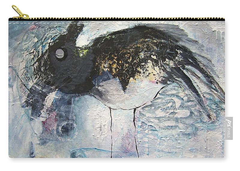 Robin Painting Carry-all Pouch featuring the painting Baby Robin by Seon-Jeong Kim