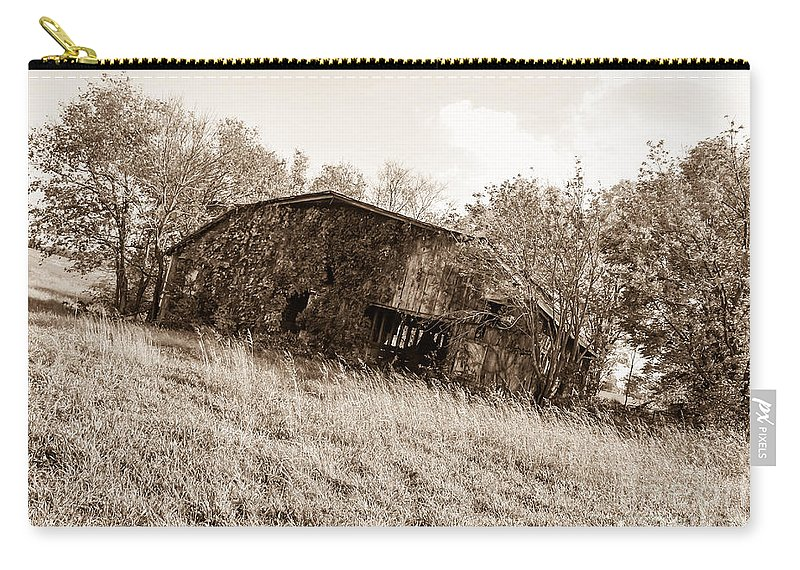 Antique Carry-all Pouch featuring the photograph Back When Barn Sepia by Jennifer White
