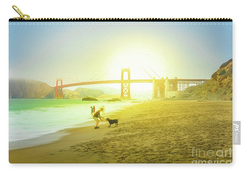 Golden Gate Bridge Carry-all Pouch featuring the photograph Baker Beach Dog Playing by Benny Marty