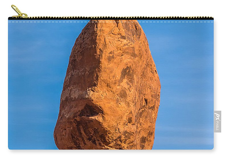 Rocks Carry-all Pouch featuring the photograph Balanced Rock In Arches National Park Near Moab Utah At Sunset by Alex Grichenko