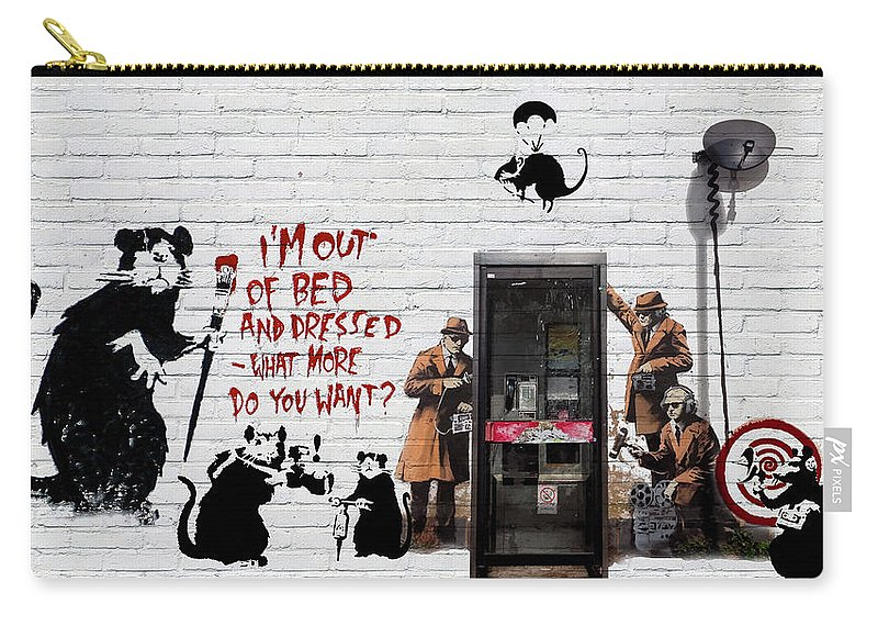 �urban Graffiti� Collection By Serge Averbukh Carry-all Pouch featuring the photograph Banksy - The Tribute - Rats by Serge Averbukh