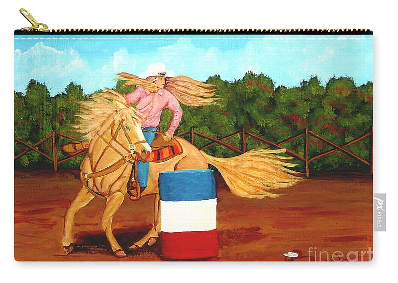 Rodeo Carry-all Pouch featuring the painting Barrel Racer by Anthony Dunphy