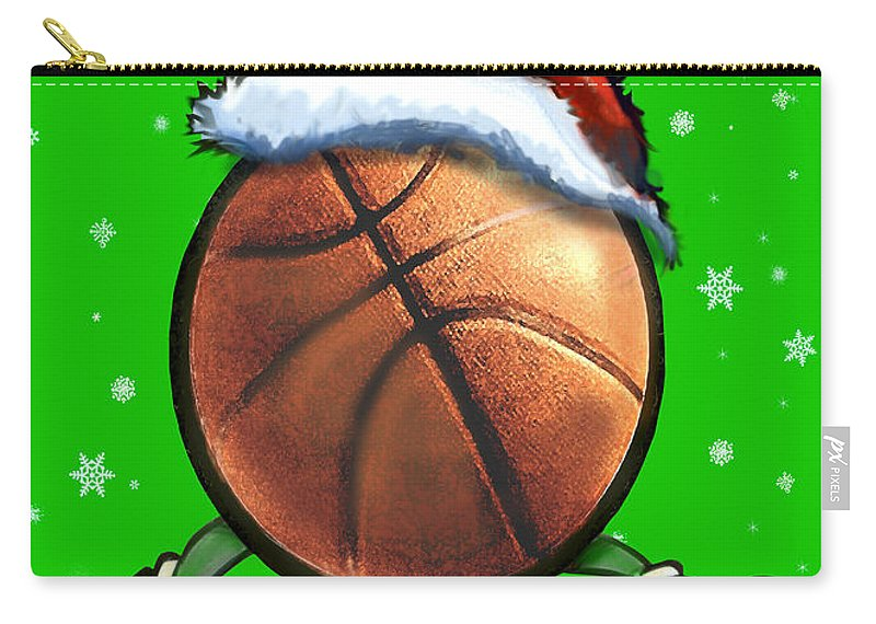 Basketball Carry-all Pouch featuring the digital art Basketball Christmas by Kevin Middleton